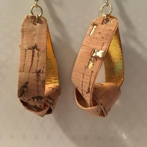 Faux cork knotted earrings